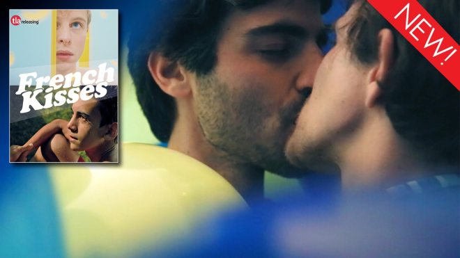 This is the art for the gay film collection, 'French Kisses'