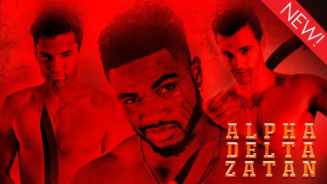 This is the art for the gay horror movie, 'Alpha Delta Zatan'